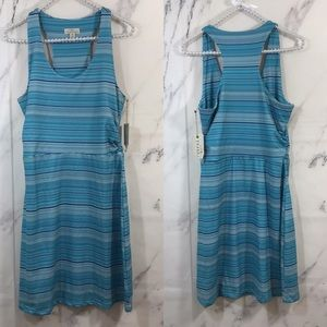 Tehama Blue Striped Racerback Stretch Knit Dress